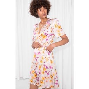& Other Stories Floral Print Wrap Mini Dress White